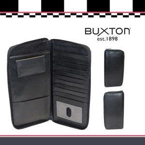Buxton Regatta Leather Zipper Passport Case